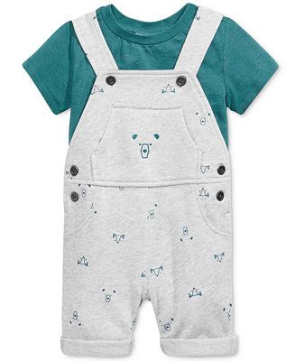 0c95b6072c58 First Impressions Baby Boys  2-Pc. T-Shirt   Bear-Print Shortall Set ...