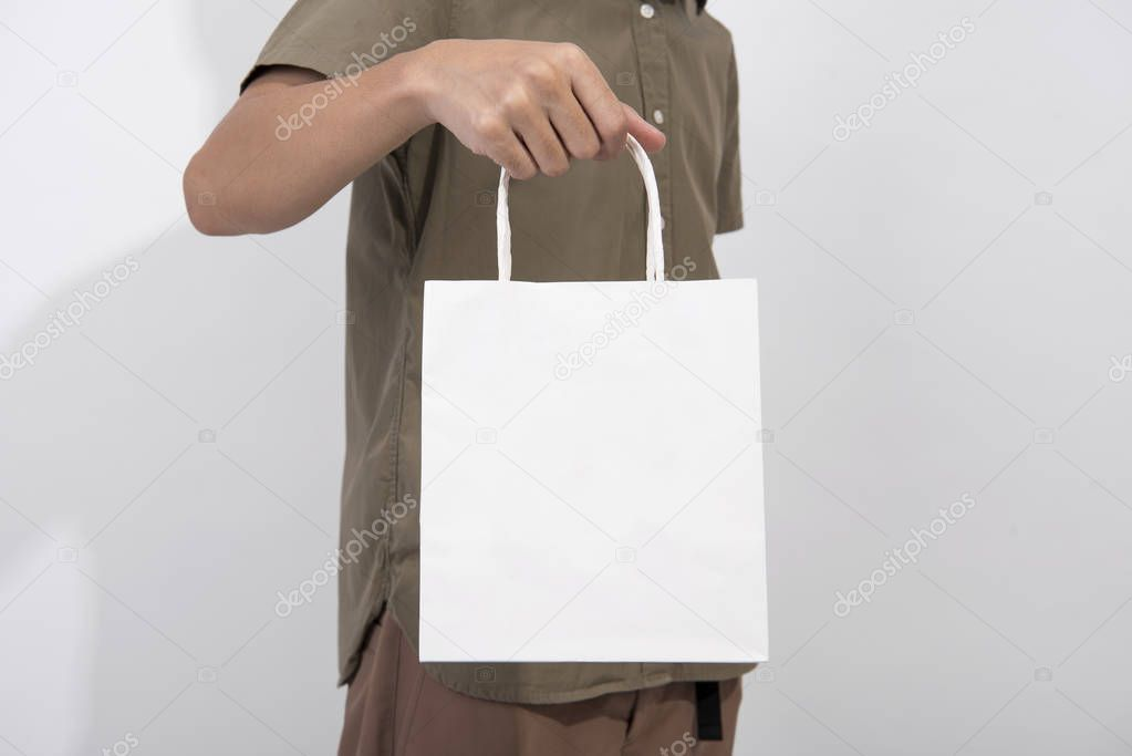 Download Blank White Paper Bag Mockup Template Advertising Branding Background S Affiliate Paper Bag Blank White Ad Bag Mockup Mockup Template White Paper