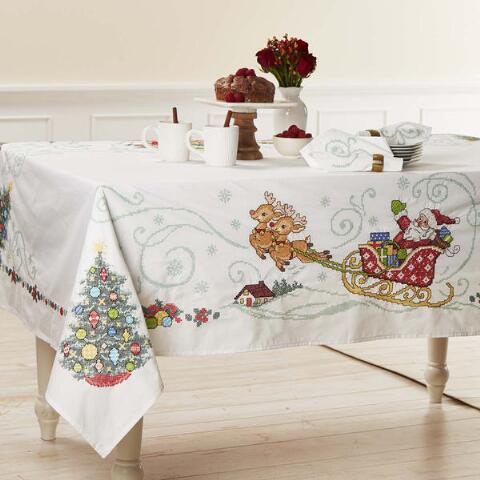Herrschners Holiday Village Table Linens Stamped Cross Stitch With Images Whimsical Tablecloth Table Cloth Table Linens