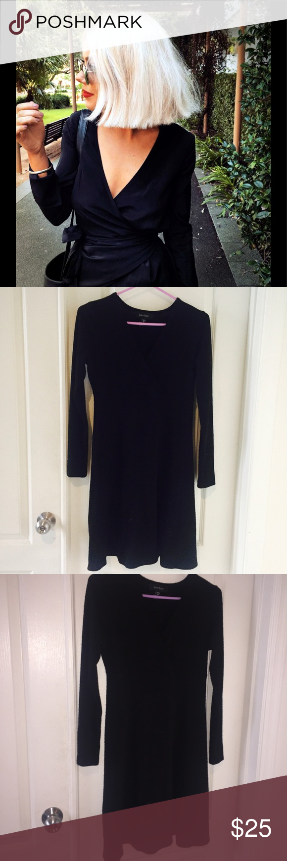black wrap dress black long sleeve deep v neck wrap dress
