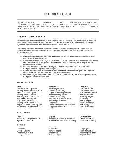 Free Spotlight on Achievements Resume Excellent skills resume - bullet points resume