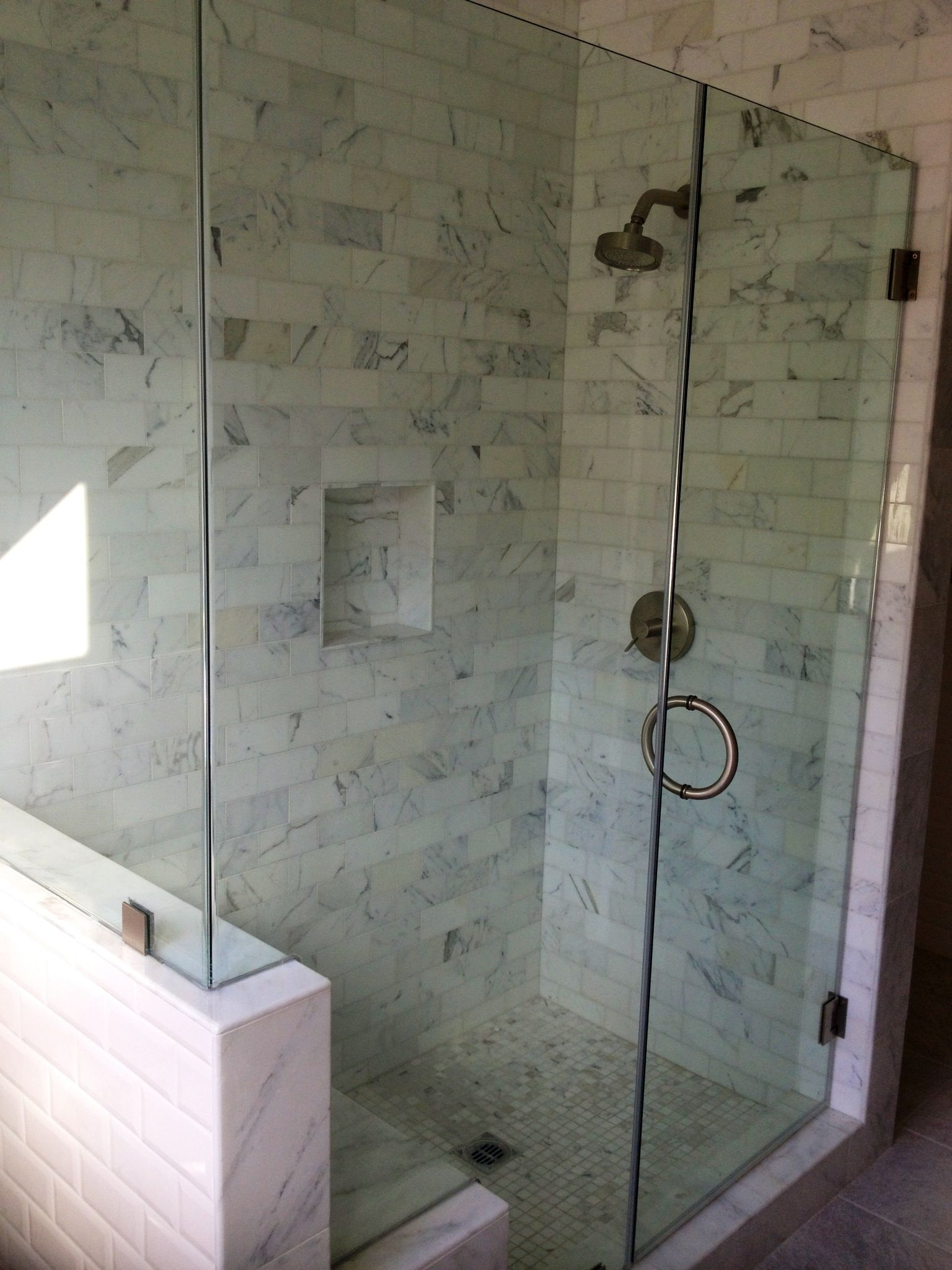 Frameless shower glass door with cut out for bench | Frameless Glass ...