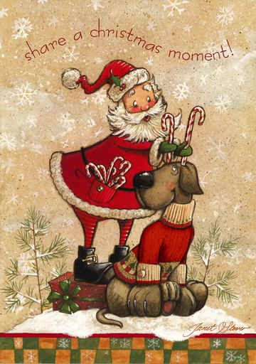 """""""Share a Christmas Moment""""  -- Santa putting candy cane antlers on a doggy"""