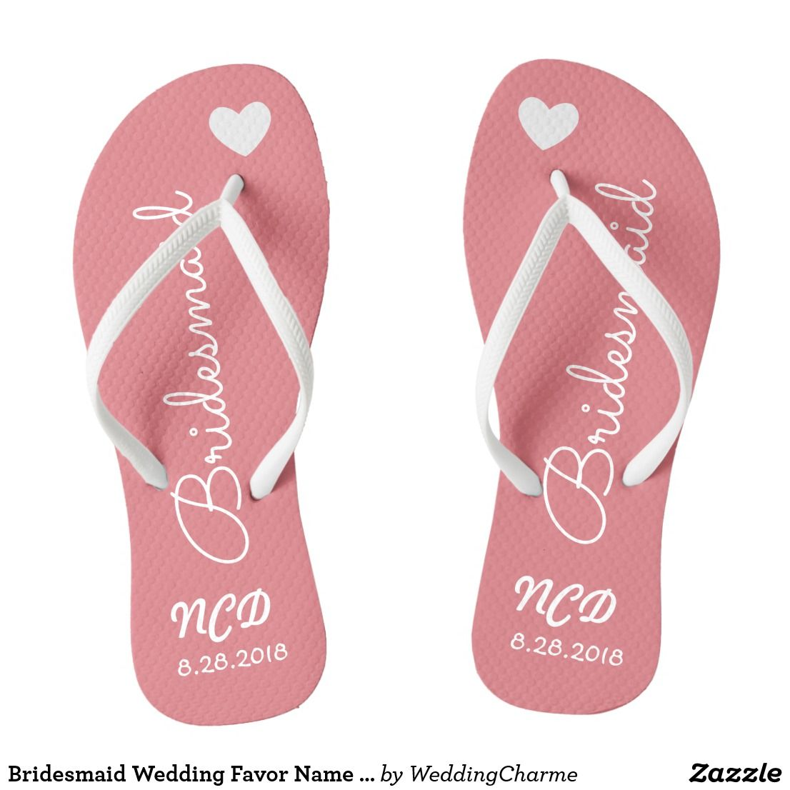 Bridesmaid Wedding Favor Name or Initials Script Flip Flops ...