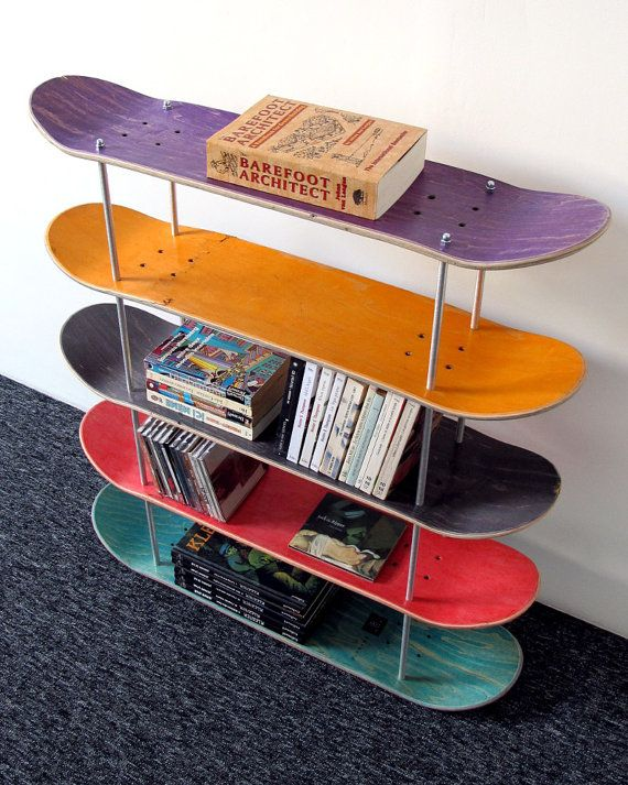 regal board skate recycelt von skatemood auf etsy. Black Bedroom Furniture Sets. Home Design Ideas