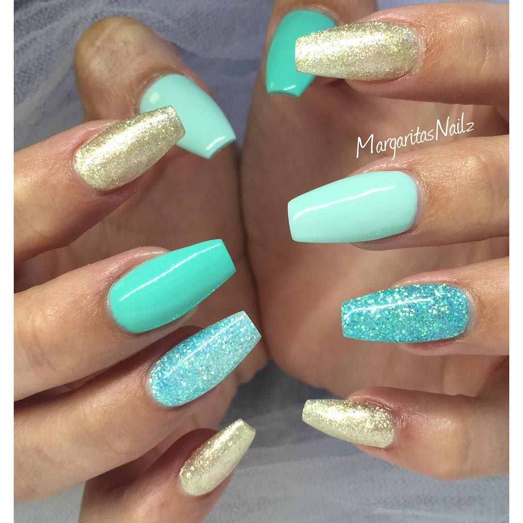 tiffany blue and gold glitter nails | tiffany blue makeup and