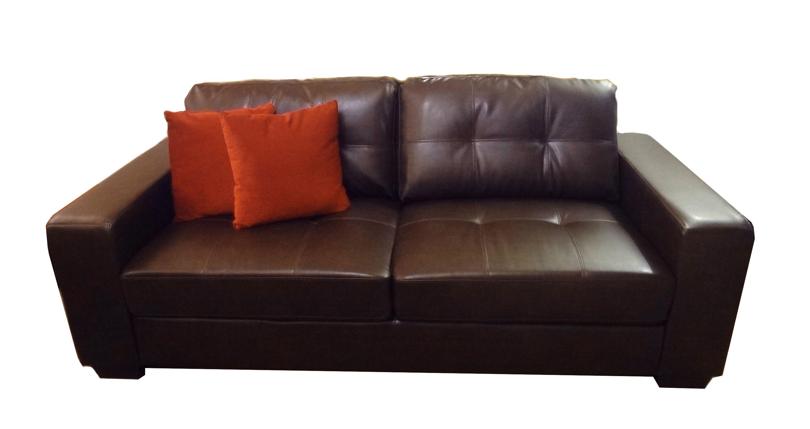 Sof En S Mil Cuero Medidas 1 50 X 0 85 Color Chocolate  # Muebles De Hule Espuma Para Ninos