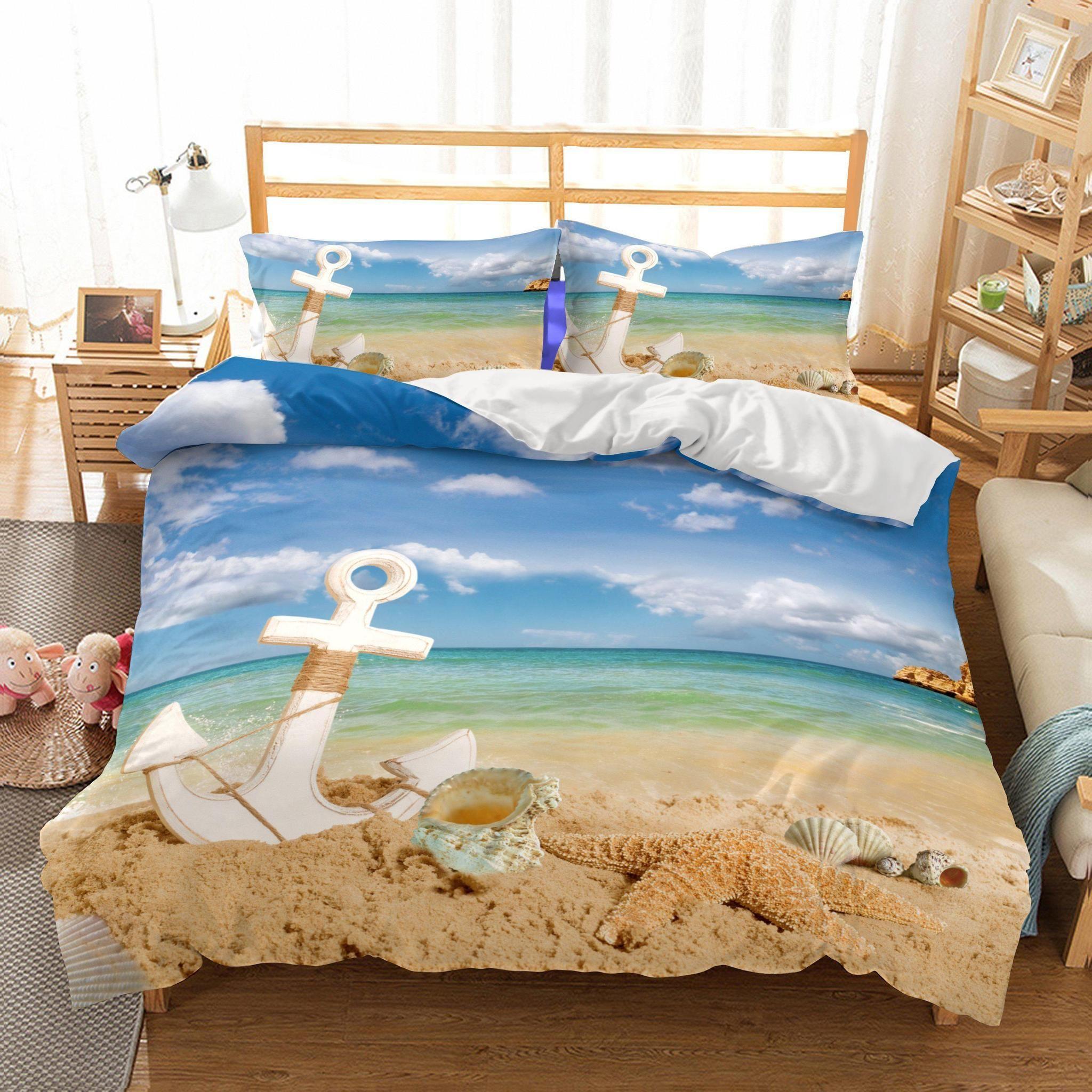 3-pc TROPICAL BEACH Full//Queen Quilt Cynthia Rowley Marine Life Fish Coral Blue