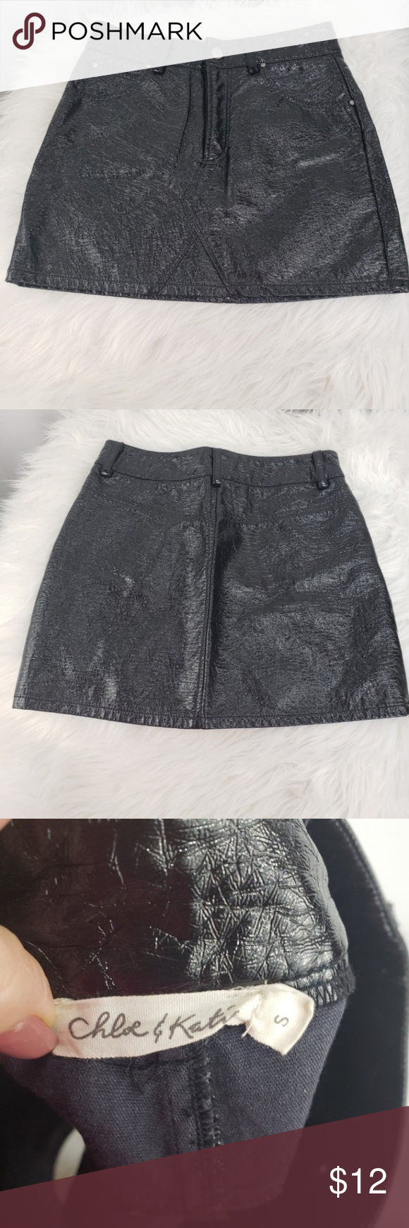 ef483f6c Chloe & Katie Black Faux Leather Skirt Preloved like new Size Small ...