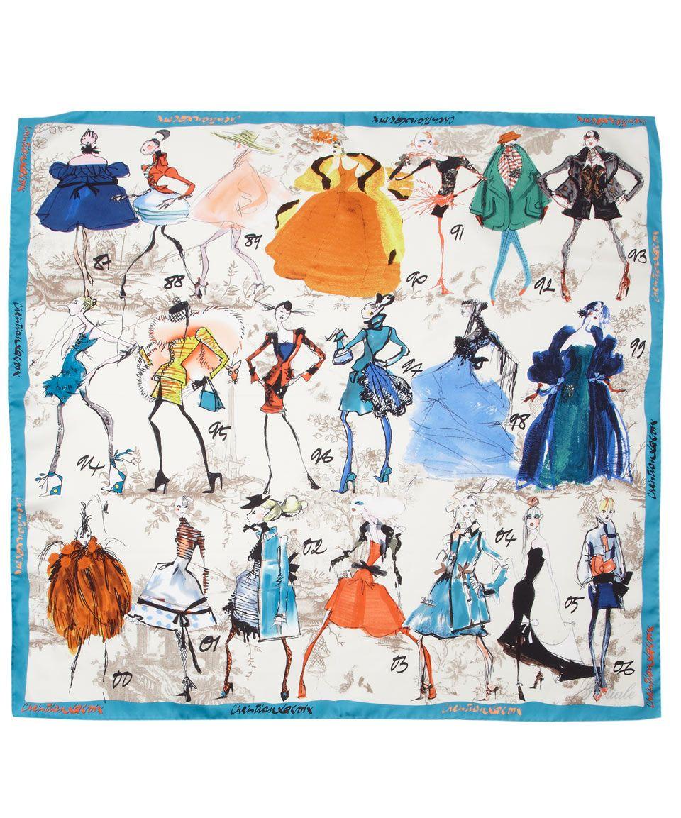 Sketch Print Square Silk Scarf, Christian Lacroix. Shop ...