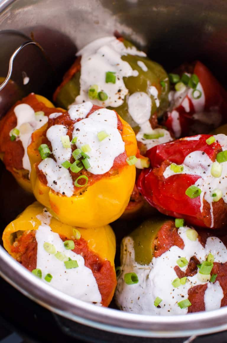 Ground Turkey Instant Pot Meals - Instant Pot Stuffed Peppers Recipe with ground turkey and ...