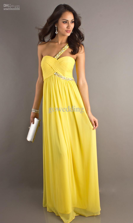 Prom dresses new arriva yellow one shoulder sheath beaded