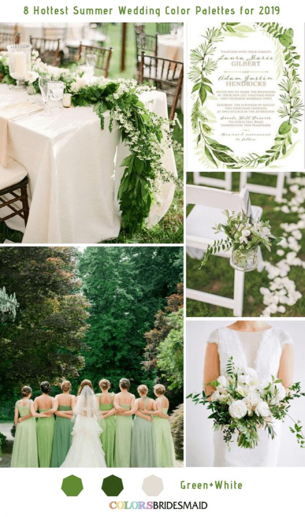 8 Frisse zomer bruiloft kleurenpaletten en ideeën voor 2019 -No.3 groen en wit # …