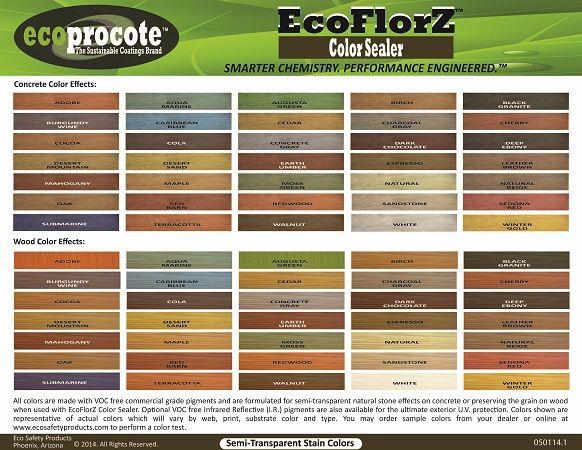Ecoflorz Color Sealer Color Chart Concrete Color Stained