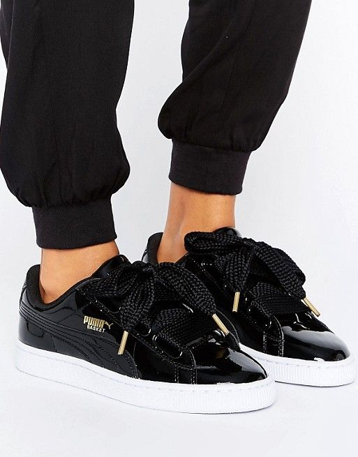 Puma Basket Heart Trainers In Patent Black | Puma basket