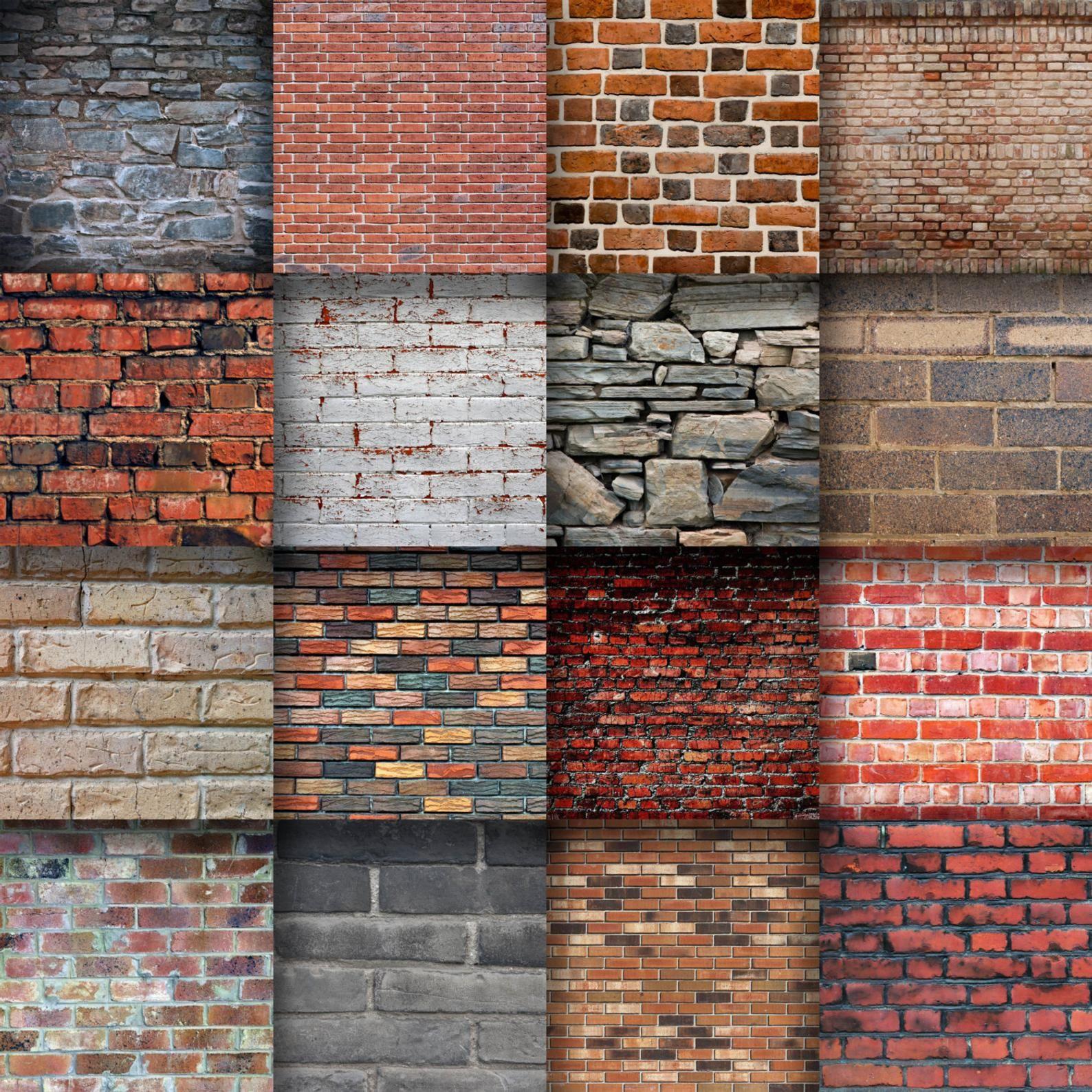 Brick Walls Digital Paper Brick Textures 16 Designs 12in X 12in Commercial Use Instant Download Brick Interior Wall Brick Exterior House Painted Brick Walls