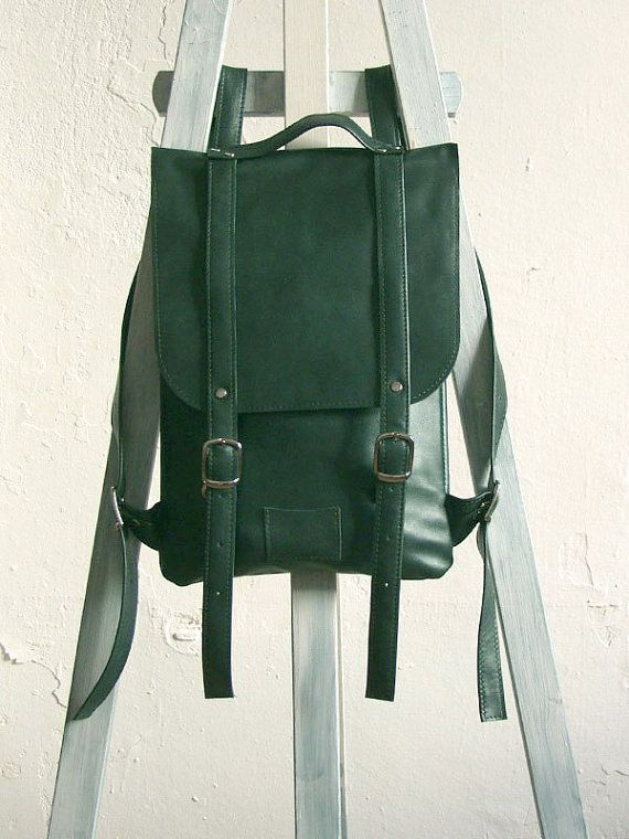 Emerald green leather backpack rucksack / To order by kokosina ...