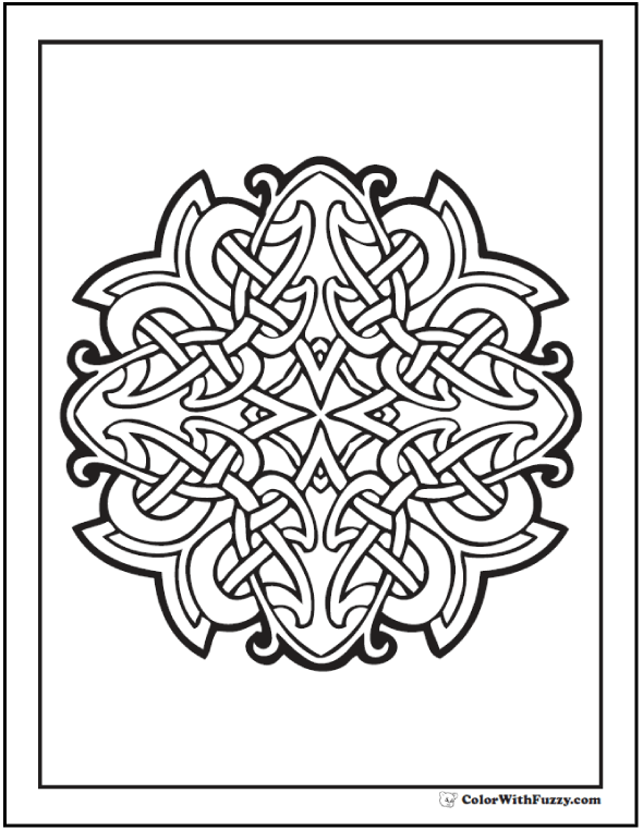 ColorWithFuzzy Celtic Cross Design Coloring Page Squint To See Several Cruciform Shapes