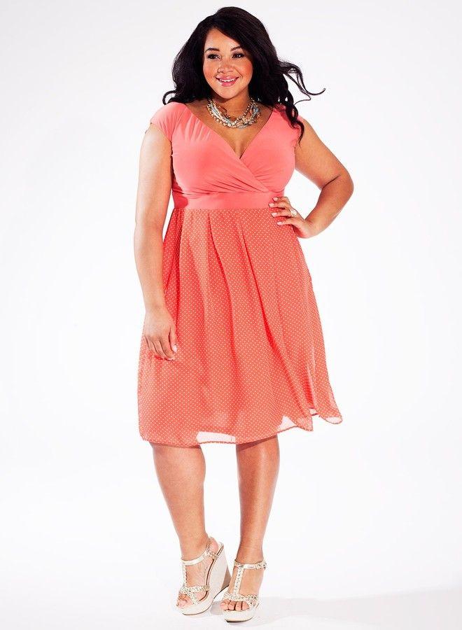 Plus Size Dress in Retro Peach | Plus Size Fashion | Plus ...