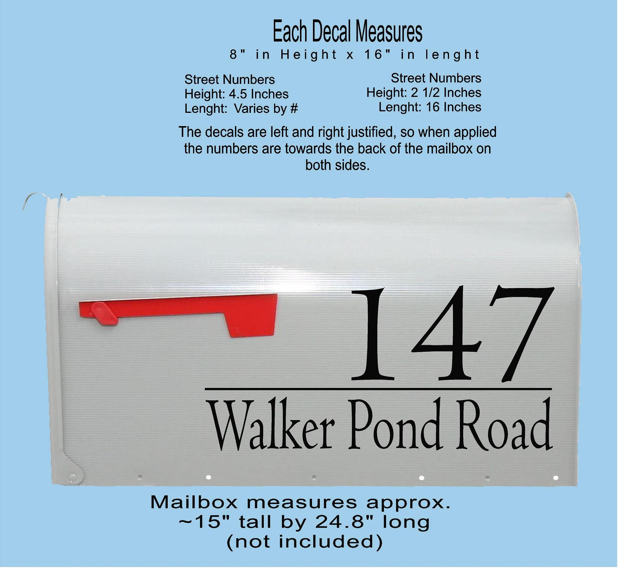Large Modern House Numbers Mailbox Decals Address Sign Front Door