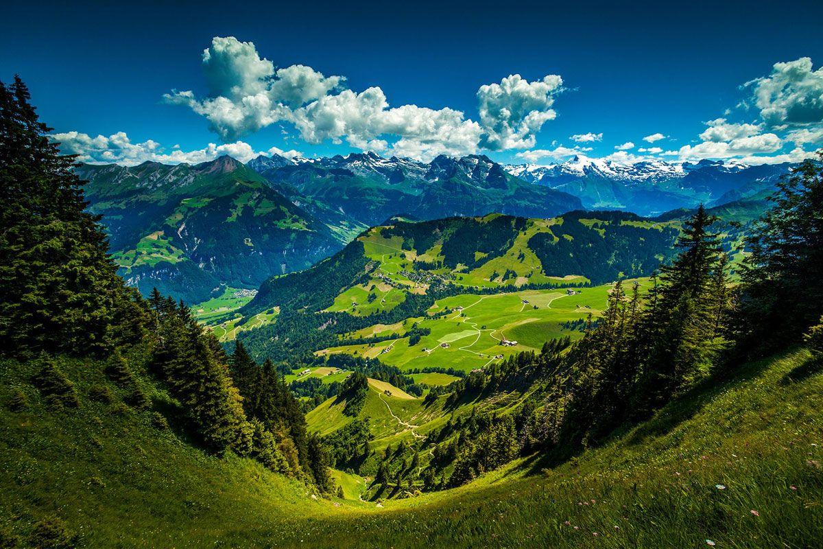Stanserhorn Swiss Alps Landscape Wallpaper Mountain Landscape Mountain Wallpaper