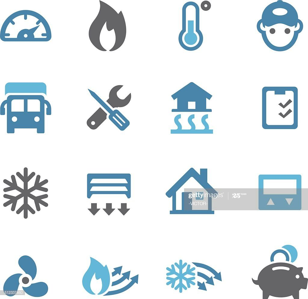 Heating And Cooling Icons Conc Series Illustration Ad Aff