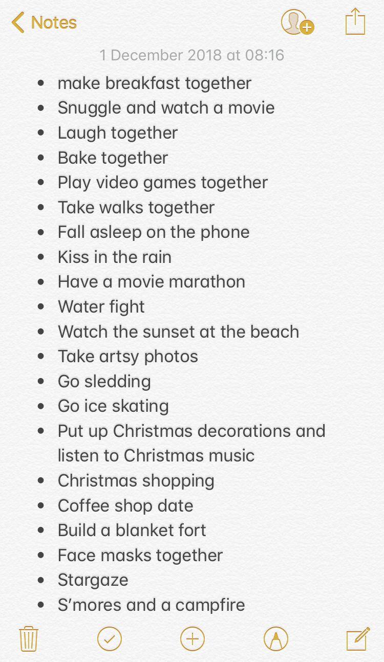 Relationship bucket list ? | Boyfriend bucket lists