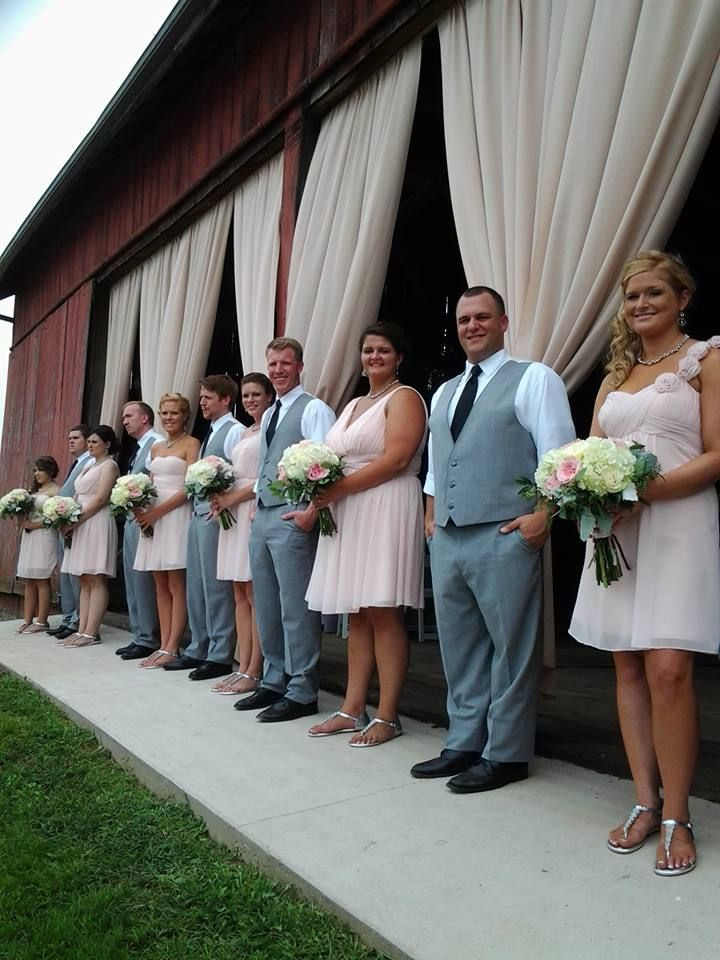 wedding party of front of Barn at Hidden Acres barn ...