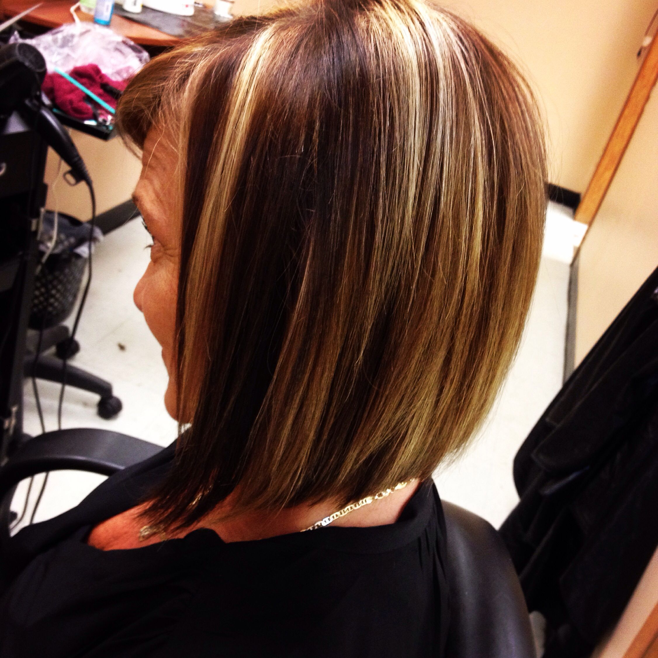 Denise Revive Salon. Angled bob, with rich mocha brown ...