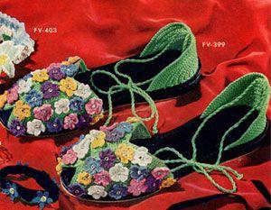 Floral Slippers | Free Vintage Crochet Pattern