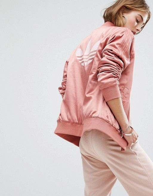 Adidas   adidas Originals Logo Back Bomber Jacket In Dusky Pink ...