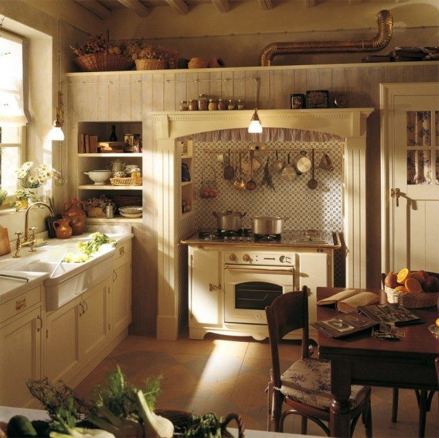 Classic english country style ivory kitchen dining design with wood storage cabinets and corner wall open shelves plus dining table set