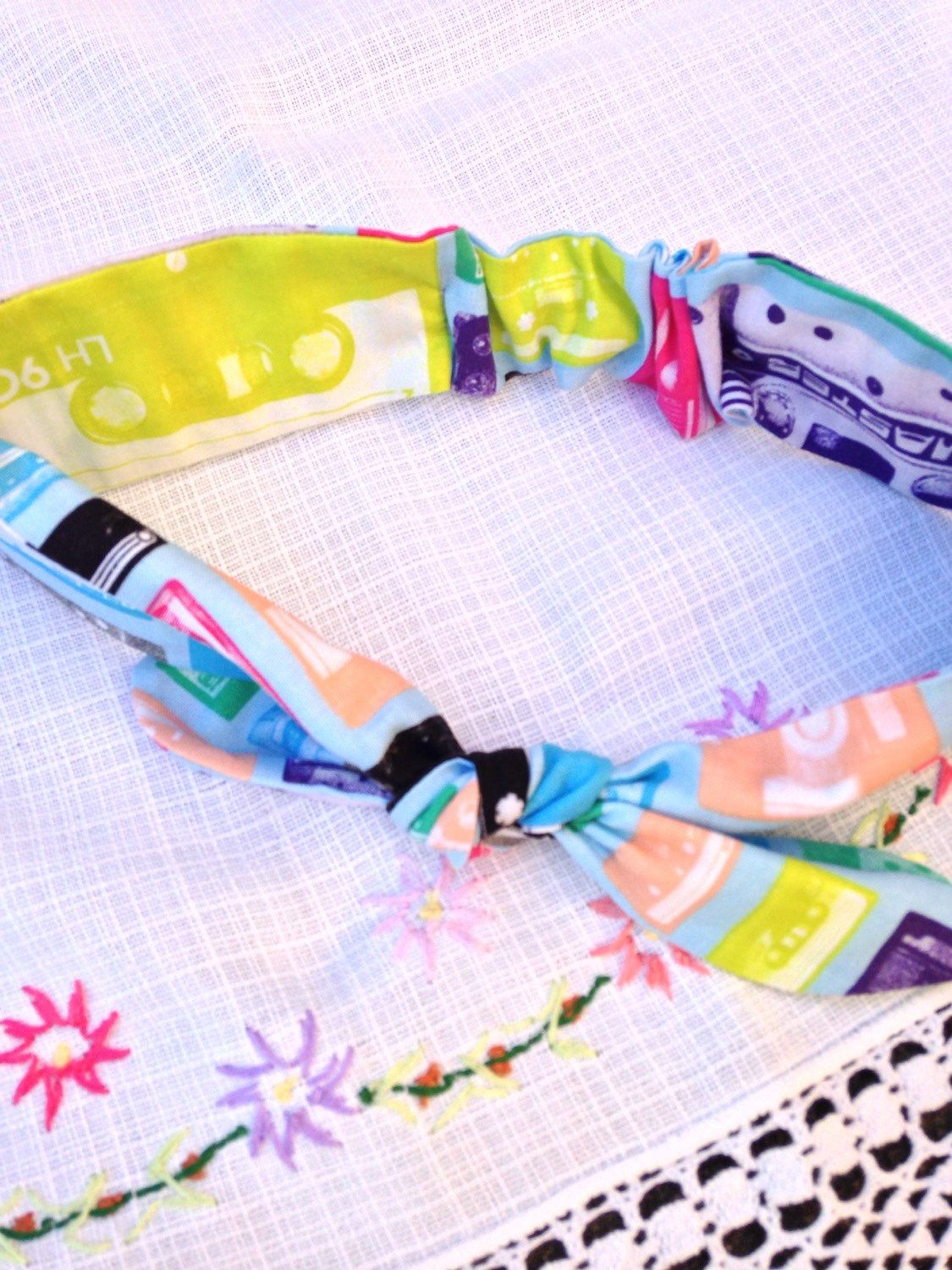 Top Knot Headband - Cassette Tape - One Size Fits All by YumyumHome on Etsy https://www.etsy.com/listing/221445484/top-knot-headband-cassette-tape-one-size