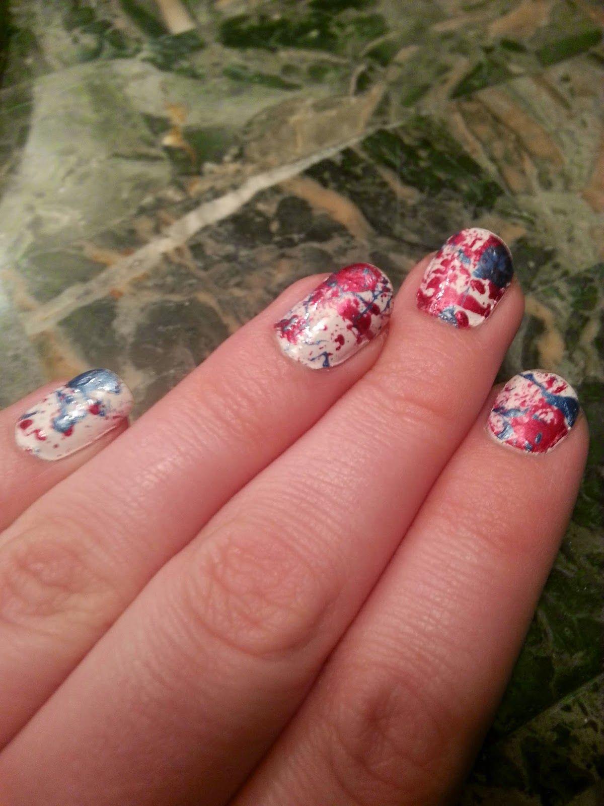 .: Patriotic Paint Splashed Nails DIY