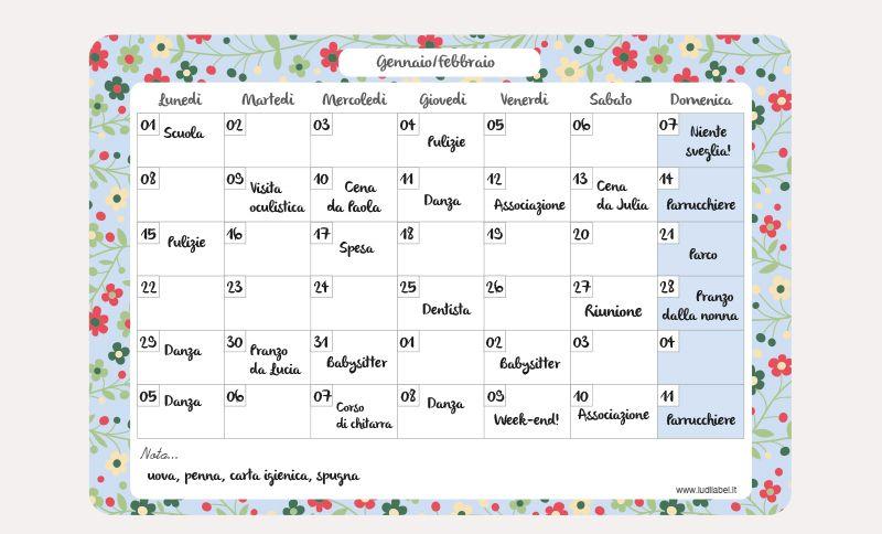 Calendario Scrivibile.Capucine Planning Mensuel Txt It Calendario Mensile