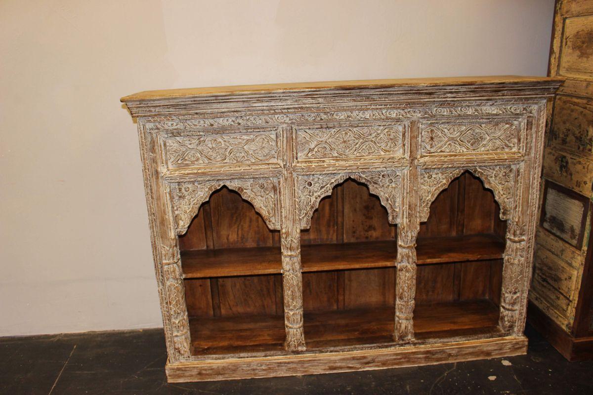 Antique Indian Jharokha Triple Arch Wall Shelf Rustic Bookcase Whitewash Wood Vintage Interior