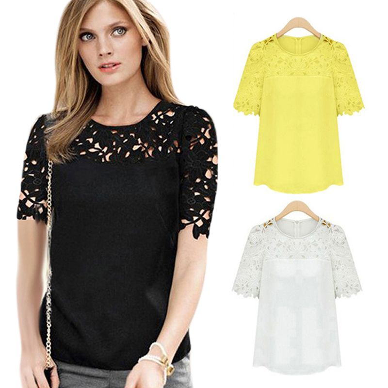 adcc1d4768f New Summer Round Neck Women Hollow Out Patchwork Lace Blouses blusas com  renda Short Sleeve Shirts