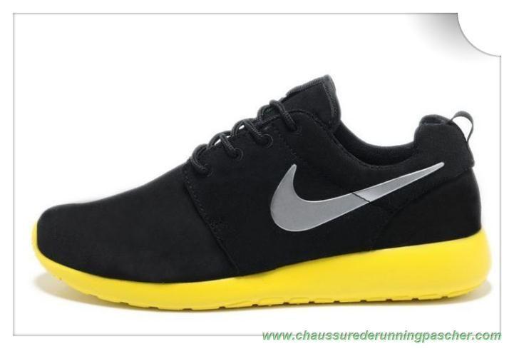 taille 40 0d332 2784d Nike Roshe Run Coal Noir/Gris loup/Lemon Jaune 511881-003 ...