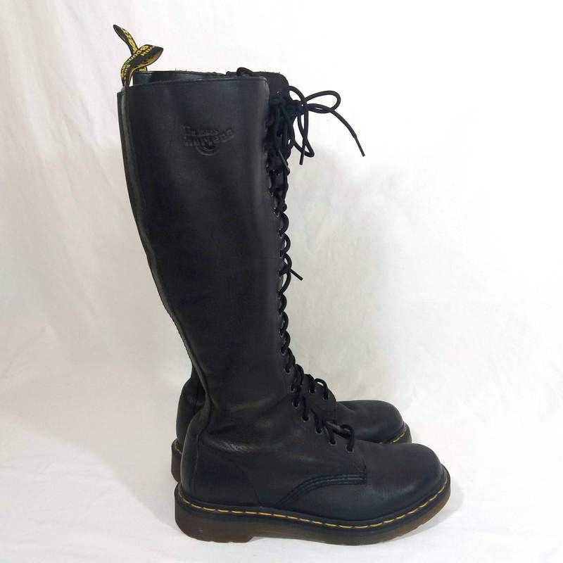 1c8e7ed46 Dr Martens Knee High Black Leather Boots Size 8 20 Eye Zip Tall Doc Martens  1B60 #DrMartens #Boots