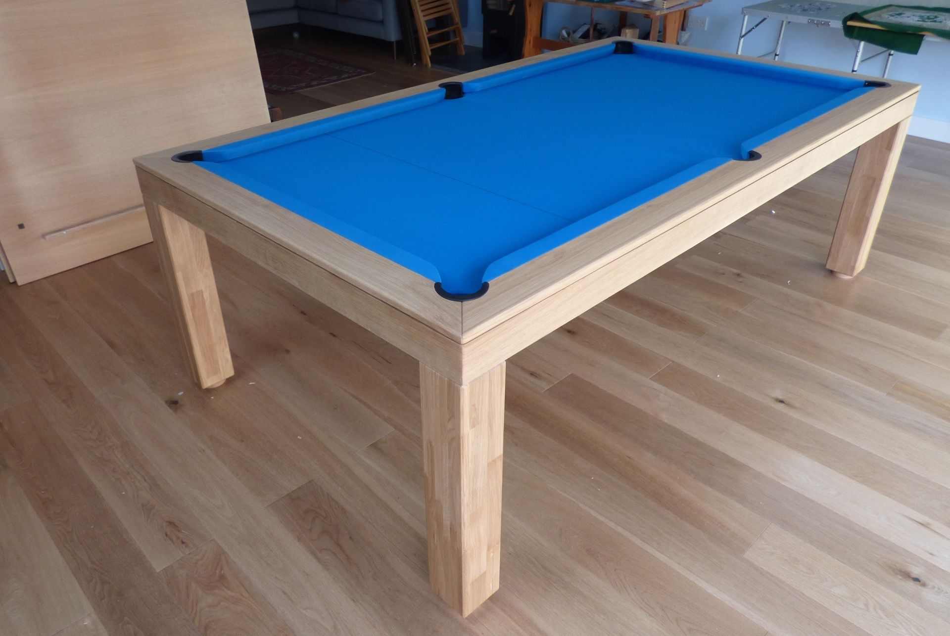 Ft English Modern Pool Table Colour Oak With A Simonis Electric - Electric blue pool table