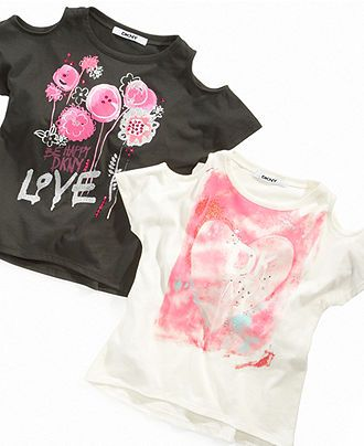 f72a2224 DKNY Kids T-Shirt, Girls Cut-Out Shoulder Graphic Tee - Kids Girls 7-16 -  Macy's