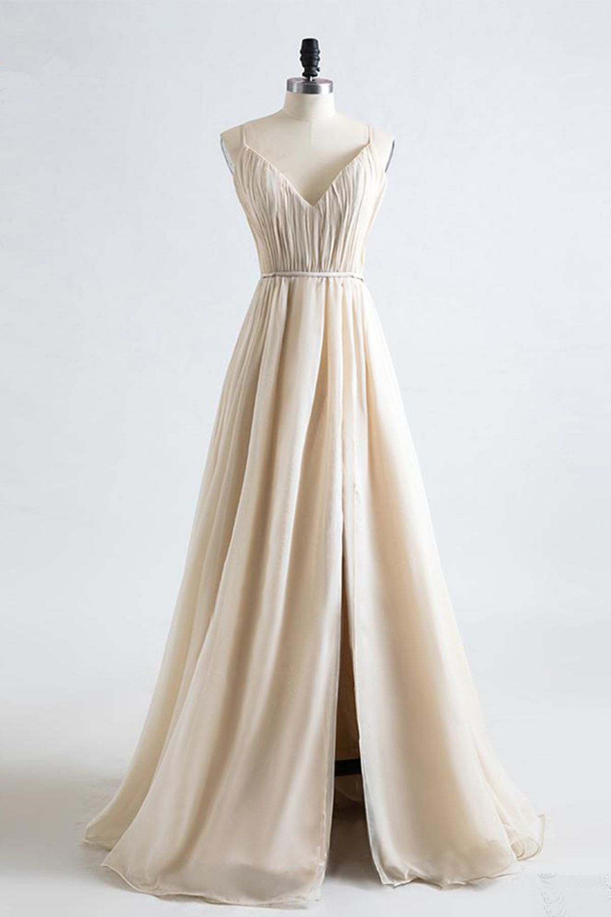 Simple champagne chiffon prom dress vneck prom dress with slit