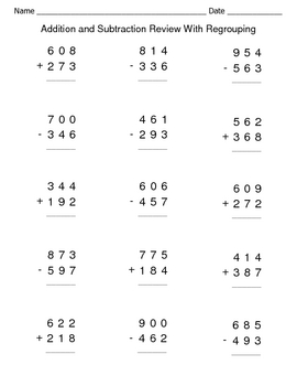 Addition And Subtraction Review With Regrouping Worksheets Addition And Subtraction Subtraction Worksheets Math Worksheets
