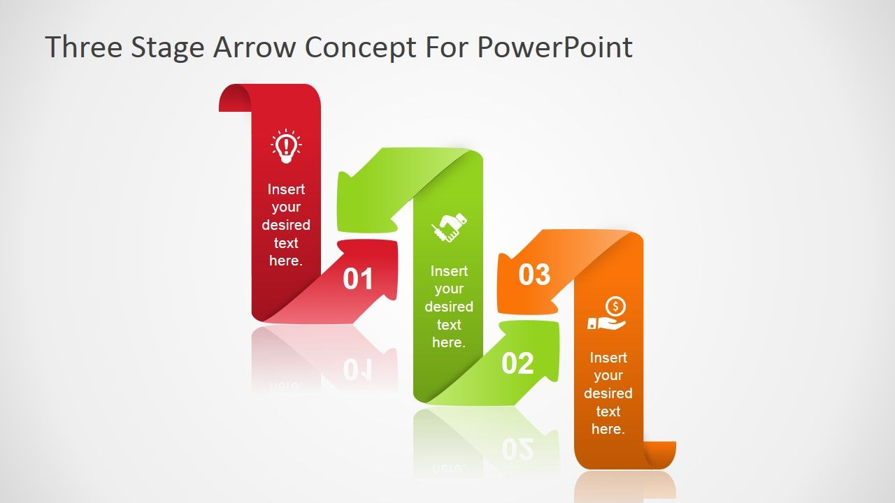 Curved Arrow Three Steps Powerpoint Diagram With Images