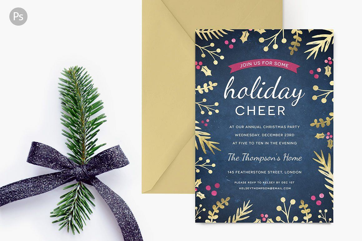 Holiday Party Invite - Foil Foliage by ClementineCreative on ...