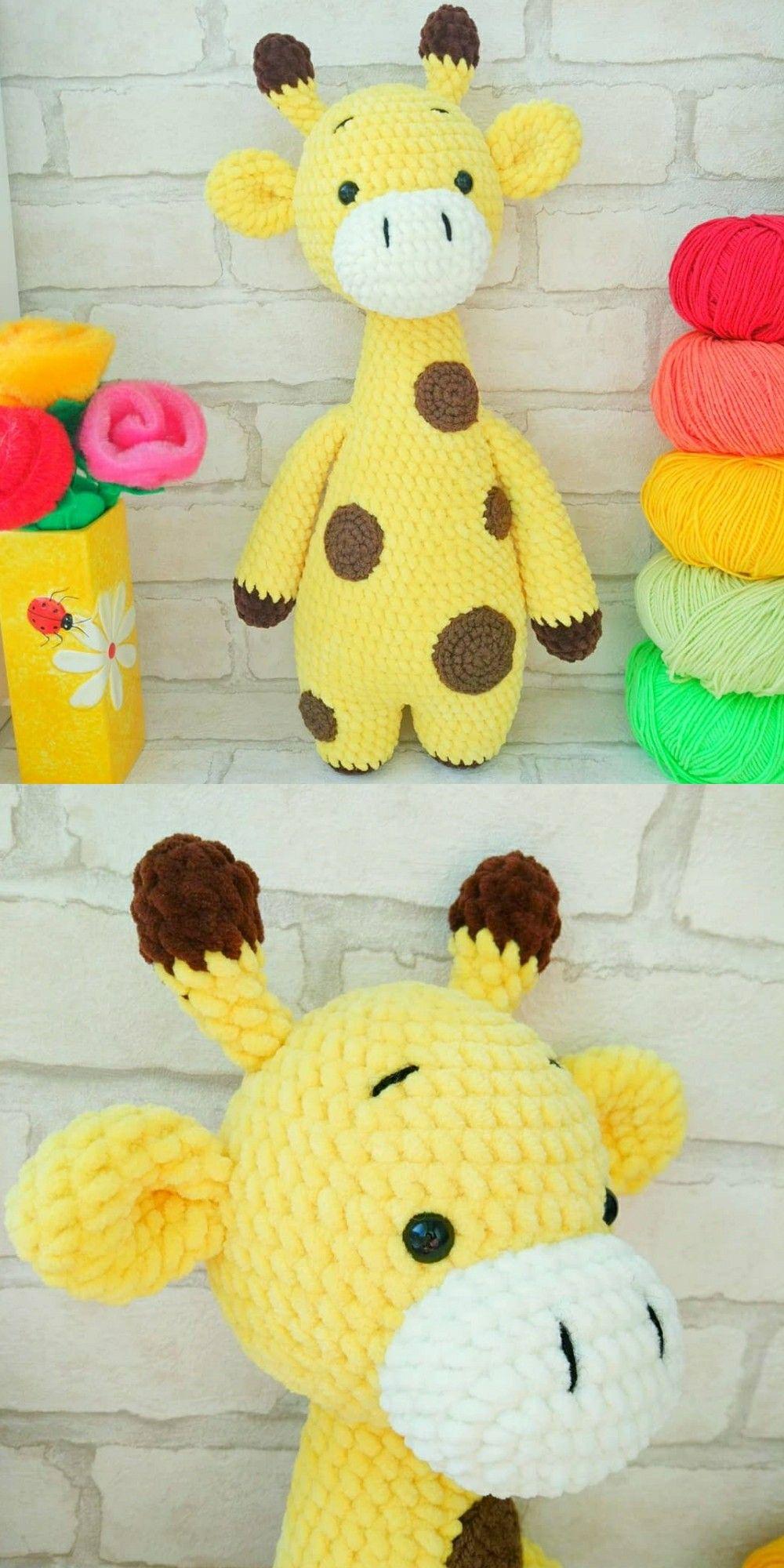 Схема вязания жирафа крючком, амигуруми схемы, жираф крючком, игрушки из плюшевой пряжи, вязаные игрушки, вязаный жираф, Мастер-класс амигуруми #crochetgiraffepattern