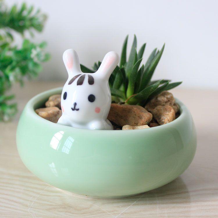 Exceptional Cute Plant Pots Part - 2: Cute Bunny Flower Pot Desktop Flower Pots Planters Ceramic Crafts .