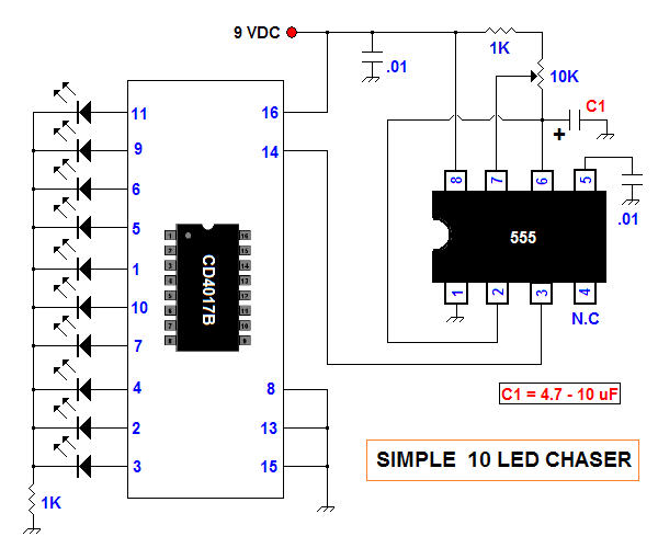 Simple 10 LED Chaser Circuit Diagram