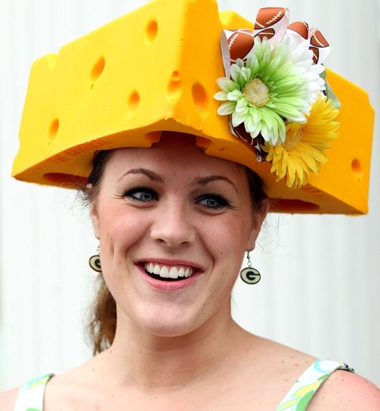 """Derby Day Green Bay Packers """"hat"""".  Lady, you have some big cheese balls!"""