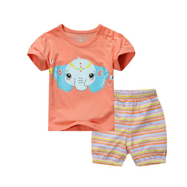2015 New Little Maven Baby Girl Children Summer Set Short Sleeve Orange T-shirt Top+Plant – Kiser Variety Shop